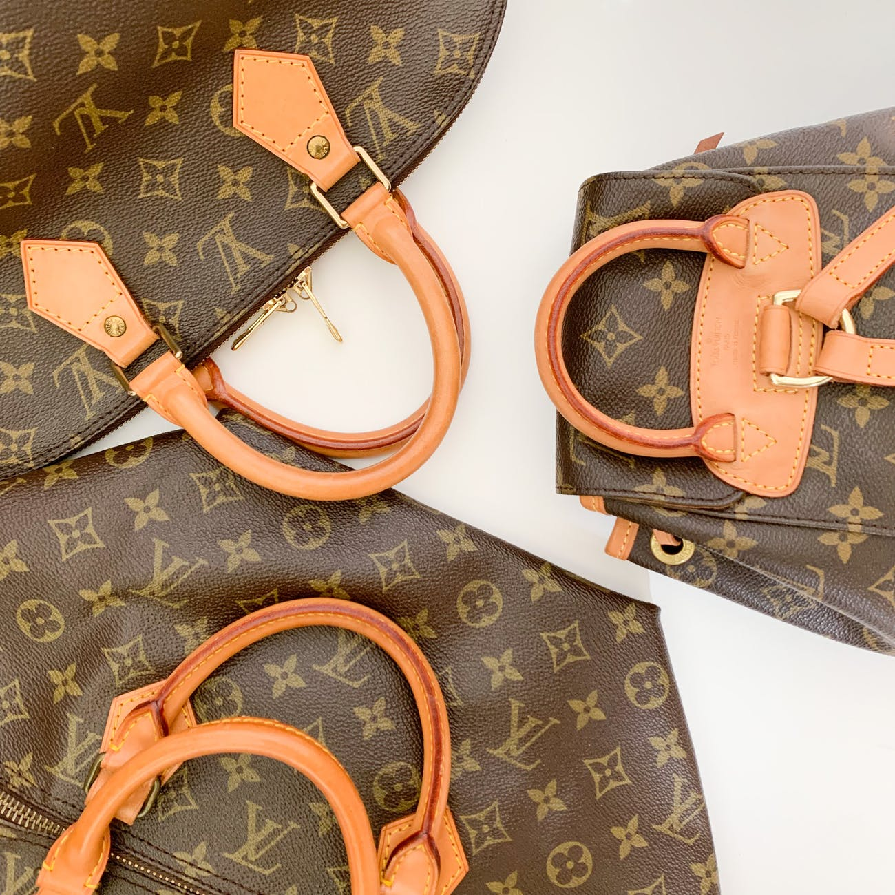 brown louis vuitton monogram leather handbag